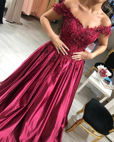 Image of Wine Red Satin Prom Dresses V-neck Lace Embroidery Evening Gowns Off Shoulder