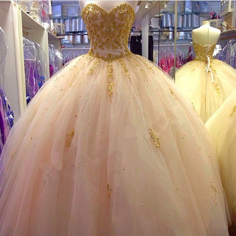 Image of Gold Lace Embroidery Tulle Sweetheart Ball Gowns Quinceanera Dresses