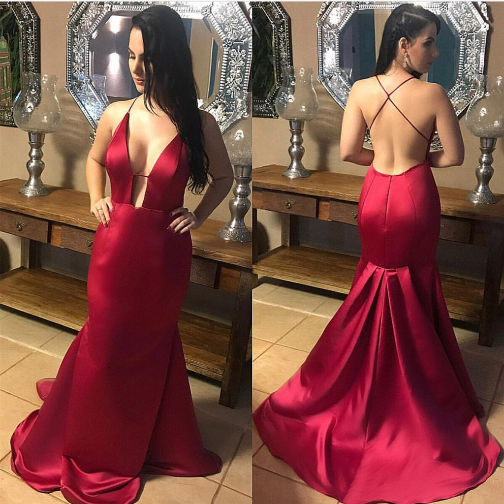 Plunge V-neck Long Satin Mermaid Prom Dresses Backless Evening Gowns