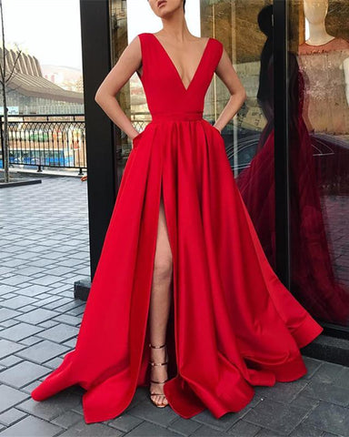 Image of Long-Red-Prom-Dresses-V-neck-Formal-Evening-Gowns-Leg-Split