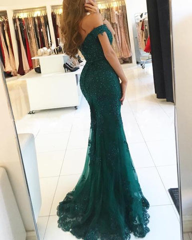 Off Shoulder Lace V-neck Mermaid Prom Dresses 2019 Formal Evening Gowns