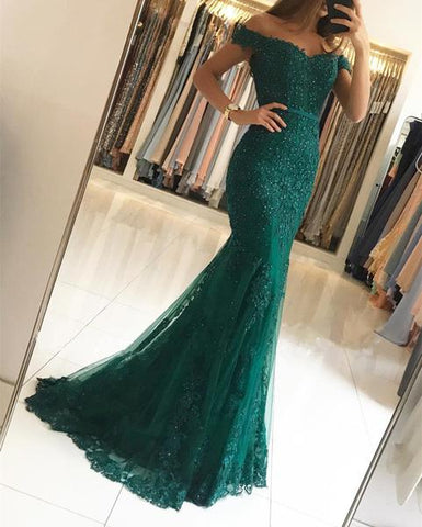 Image of Off Shoulder Lace V-neck Mermaid Prom Dresses 2019 Formal Evening Gowns