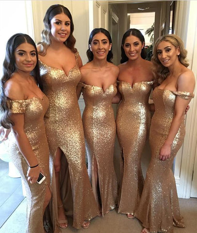 Image of off shoulder long gold sequins mermaid bridesmaid dress with slit