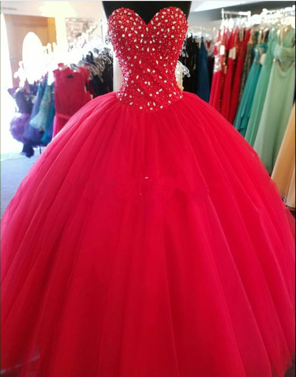 Elegant Beaded Sweetheart Tulle Floor Length Quinceanera Dresses Ball Gowns
