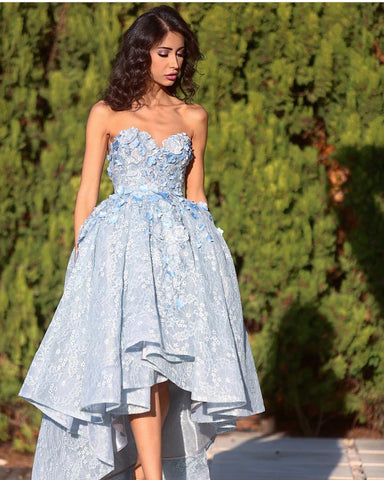 Image of Elegant Gray Lace High Low Prom Dresses 2018 Sweetheart Gowns