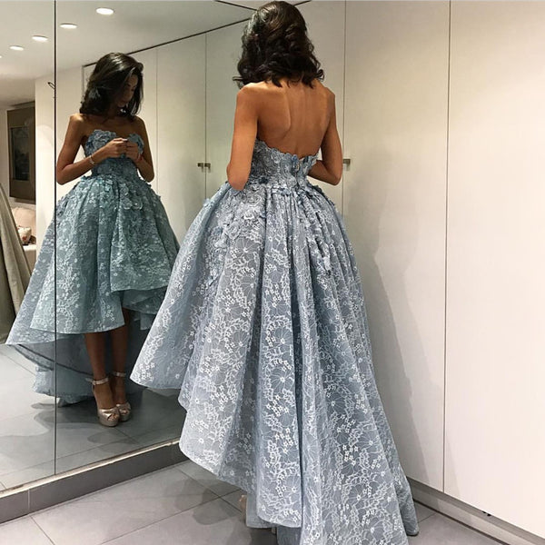 Elegant Gray Lace High Low Prom Dresses 2018 Sweetheart Gowns