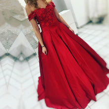 Afbeelding in Gallery-weergave laden, Red Satin Floor Length Ball Gown Evening Dresses Off The Shoulder