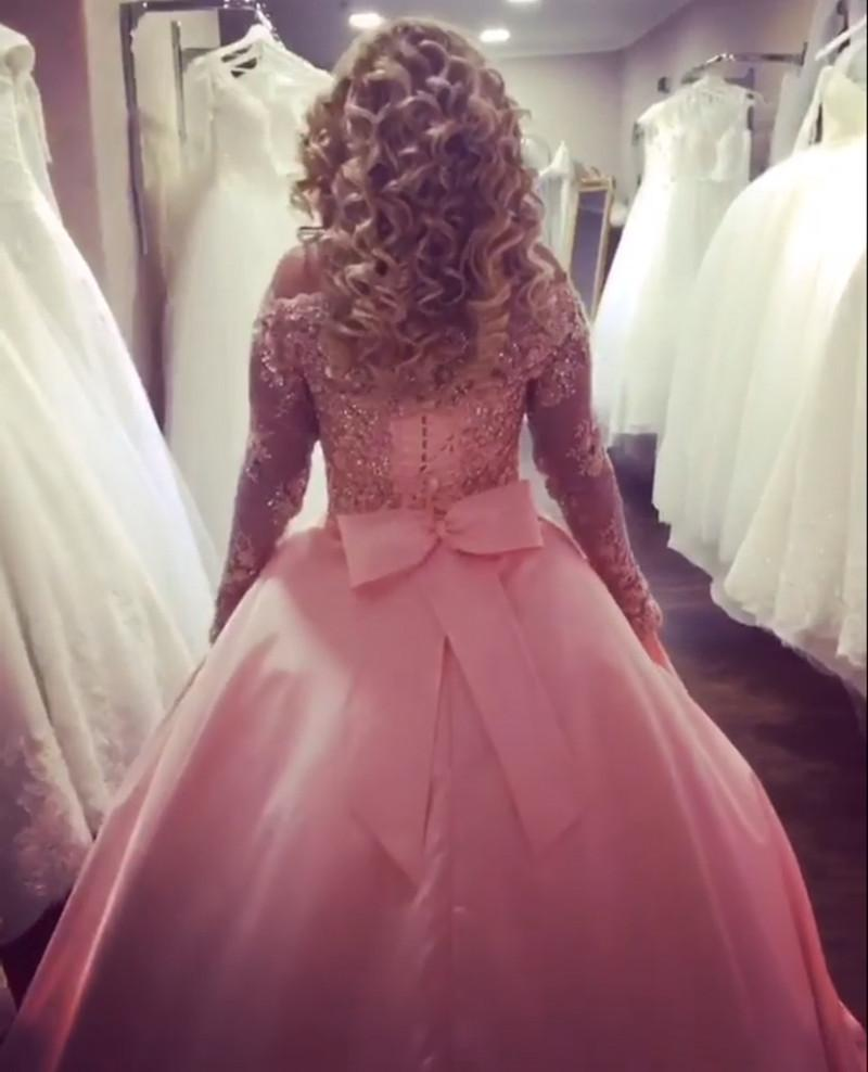 Gold Lace Long Sleeves Pink Satin Bow Back Wedding Dresses Ball Gowns