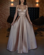 Load image into Gallery viewer, Long-Champagne-Prom-Dresses-Floor-Length-Evening-Gowns