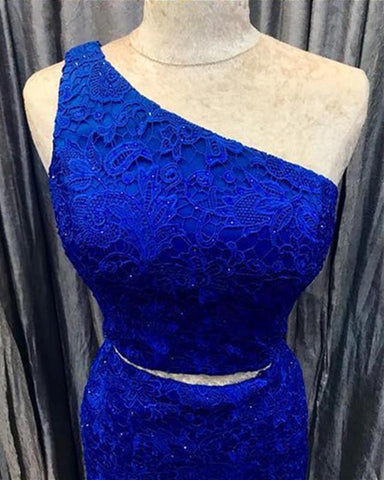 Image of Elegant One Shoulder Homecoming Dresses Two Piece Prom Short Dress