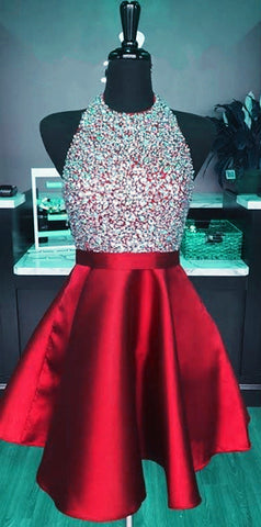 Image of Short Satin Open Back Homecoming Dresses Beaded Halter Prom Gowns 2018