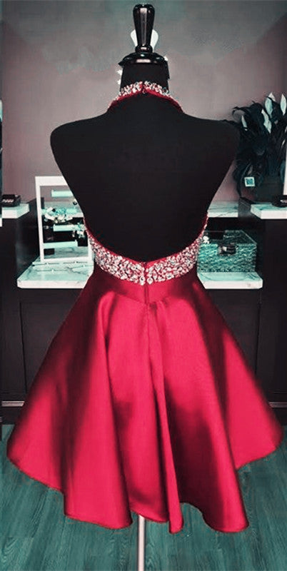 Short Satin Open Back Homecoming Dresses Beaded Halter Prom Gowns 2018