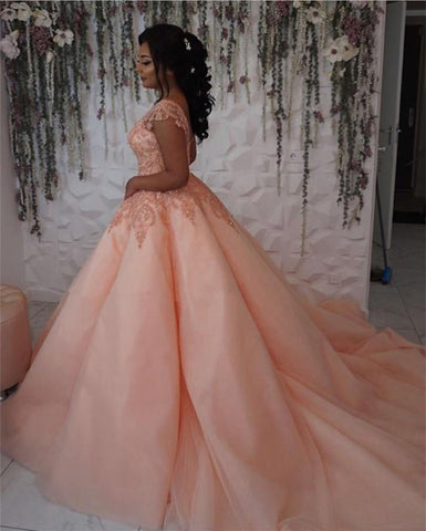 Image of Modest Lace Cap Sleeves Coral Organza Quinceanera Dresses Ball Gowns