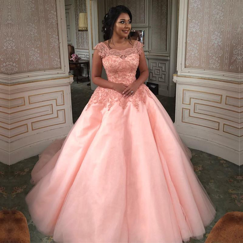 Modest Lace Cap Sleeves Coral Organza Quinceanera Dresses Ball Gowns