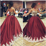 Gold Lace Appliques Sweetheart Burgundy Satin Quinceanera Dresses Ball Gowns
