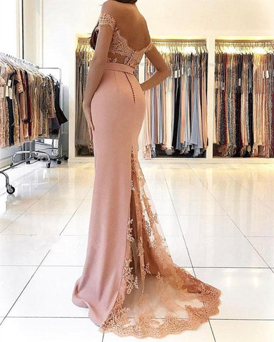 Image of elegant-off-the-shoulder-mermaid-prom-dresses-pink