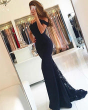 Load image into Gallery viewer, Long-Mermaid-Bridesmaid-Dresses-Navy-Blue-Lace-Appliques-Evening-Gowns