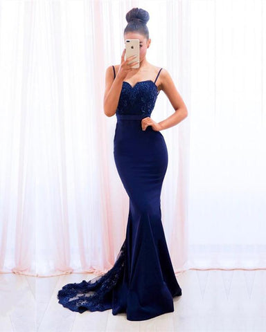 Image of Navy-Blue-Formal-Dresses-Long-Mermaid-Prom-Gowns-Lace-Appliques