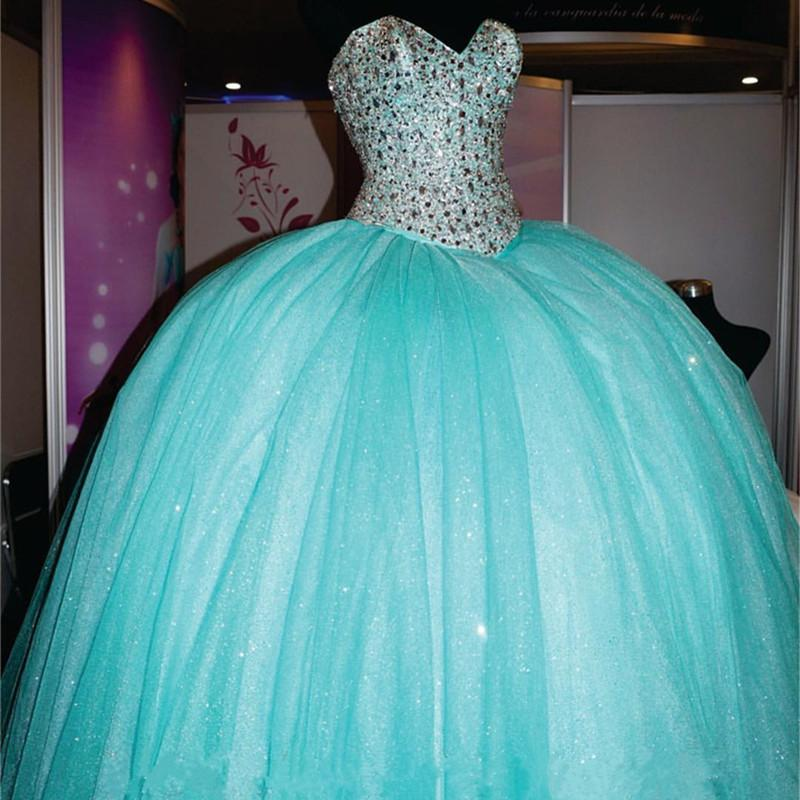 Rhinestone Beaded Sweetheart Ice Organza Quinceanera Dresses Ball Gowns 2017