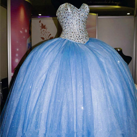 Image of Rhinestone Beaded Sweetheart Ice Organza Quinceanera Dresses Ball Gowns 2017