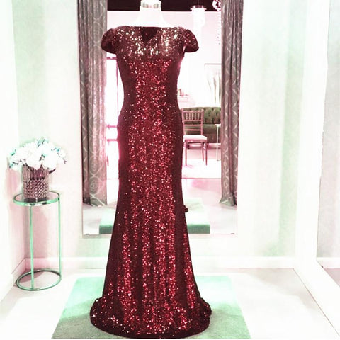Image of Long Burgundy Sequins Dropped Back Mermaid Bridesmaid Dresses