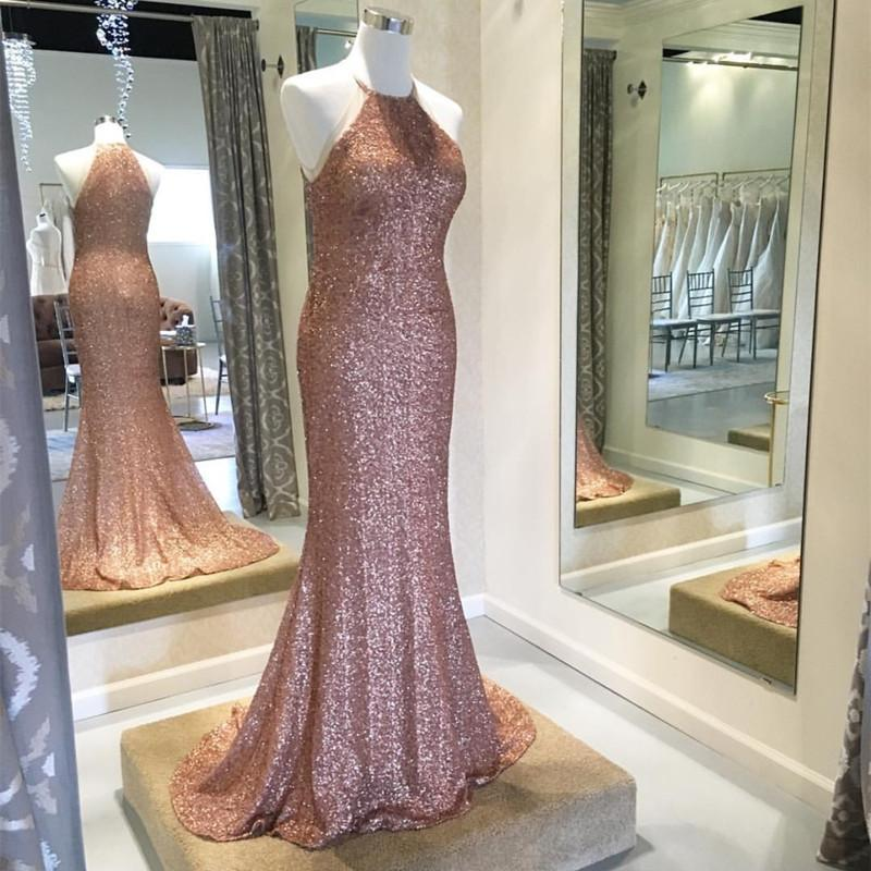 Rose Gold Sequins Halter Bridesmaid Dresses Long Mermaid Gowns