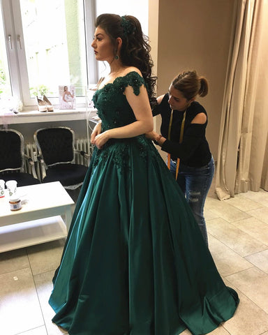 Image of Emerald Green Satin Engagement Dresses Lace Off Shoulder Prom Dress Ball Gowns
