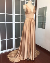Load image into Gallery viewer, Long Chiffon V-neck Empire Waistline Leg Slit Bridesmaid Dresses