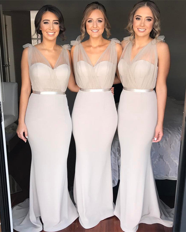 Tulle V-neck Floor Length Jersey Mermaid Bridesmaid Dresses