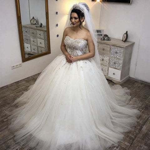 Image of Crystal Beaded Sweetheart Tulle Wedding Dresses Ball Gowns