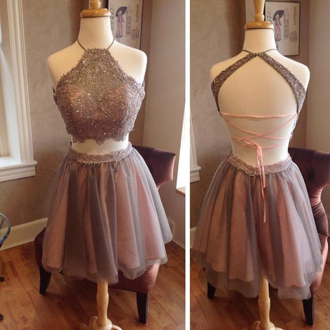 Image of Lace Crop Top Pleated Tulle Homecoming Dresses Two Piece