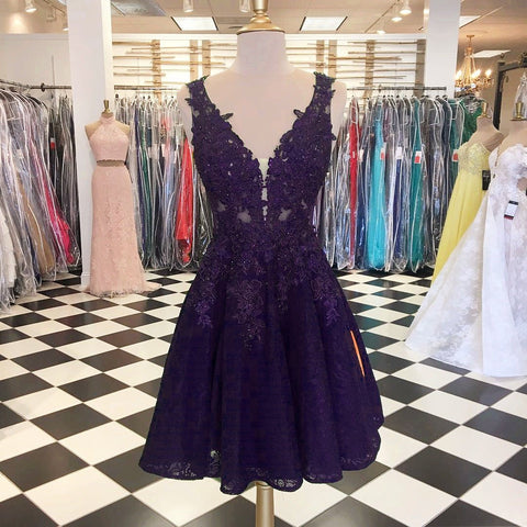 Image of purple-lace-homecoming-dresses-for-8th-grade-prom-occasions