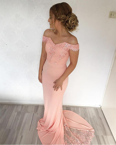 Image of mermaid-evening-gowns-2019-Appliqued-Prom-Coral-Dresses