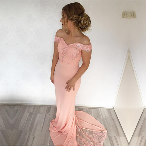 Image of Mermaid Sweep Train Off Shoulder Prom Dresses Lace Appliques