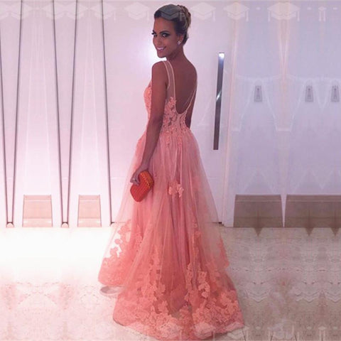 Image of Coral-Pink-Prom-Dresses-2019-Lace-Appliques-Evening-Gowns