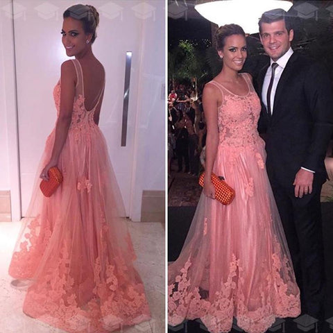 Image of A Line Backless Long Pink Tulle Evening Dress Lace Appliques