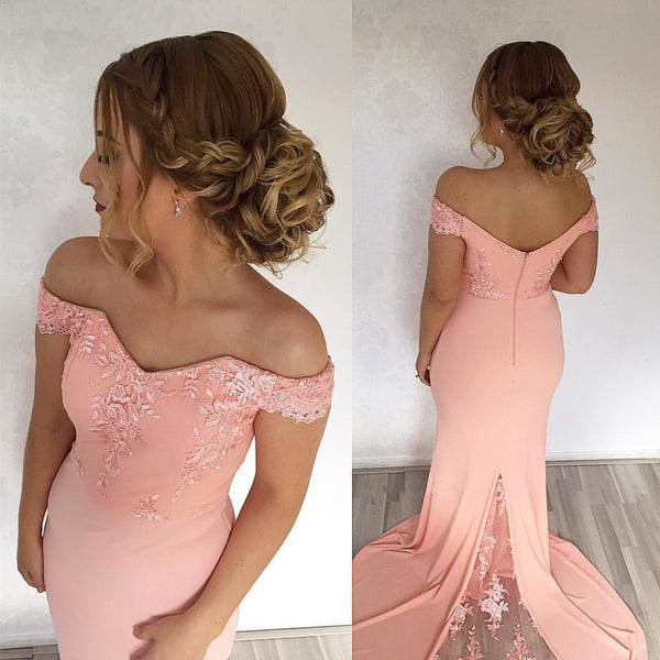 Mermaid Sweep Train Off Shoulder Prom Dresses Lace Appliques
