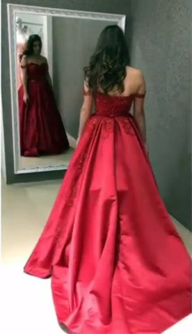Image of off shoulder prom gowns
