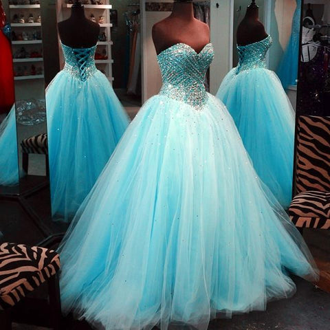 Image of Crystal Beaded Sweetheart Tulle Ball Gowns Prom Quinceanera Dresses 2017