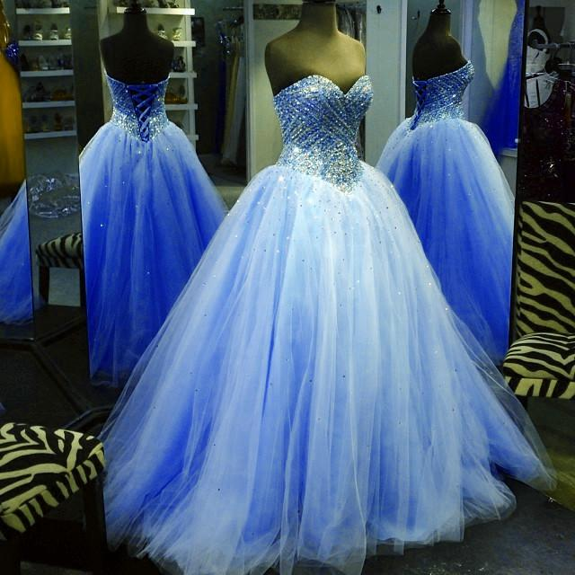 Crystal Beaded Sweetheart Tulle Ball Gowns Prom Quinceanera Dresses 2017