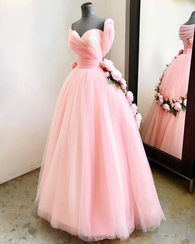 Image of A Line Sweetheart Pink Tulle Princess Wedding Dresses With Peonies Flowers