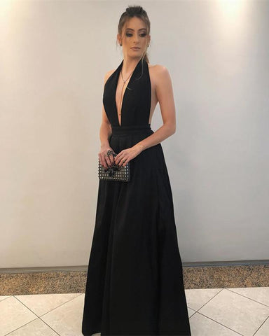 Image of Long-Black-Bridesmaid-Dresses-Halter-Formal-Evening-Gowns