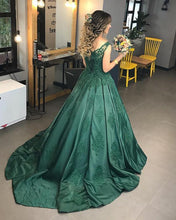 Load image into Gallery viewer, dark green evening gowns