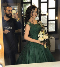 Load image into Gallery viewer, dark green quinceanera dresses