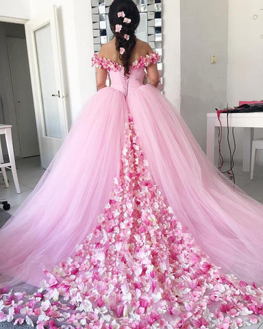 Image of Elegant-Ball-Gowns-Quinceanera-Dresses-Flowers-Wedding-Gowns