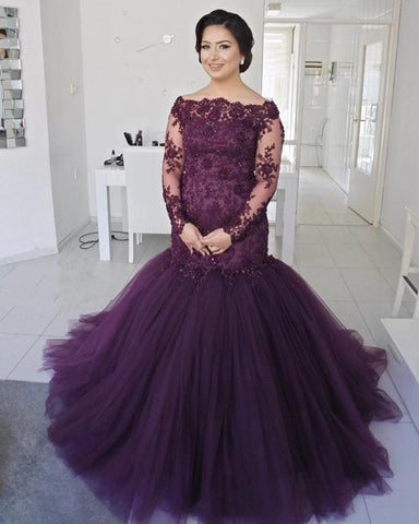 Image of Off-The-Shoulder-Prom-Dresses-Lace-Long-Sleeves