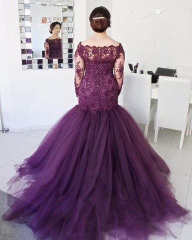 Image of Lace-Mermaid-Prom-Dresses-Plus-Size-With-Sleeves