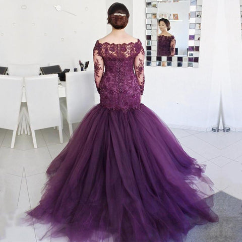 Image of Dark Purple Lace Long Sleeves Mermaid Evening Dresses