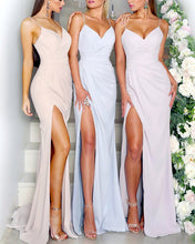 Load image into Gallery viewer, Sexy-Long-Bridesmaid-Dresses-Mermaid-Jersey-Gowns-Leg-Split-Formal-Dresses