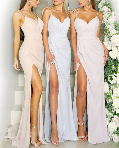 Image of V-neck-Mermaid-Long-Prom-Dresses-Leg-Split-Evening-Gowns-For-Maid-Of-Honor